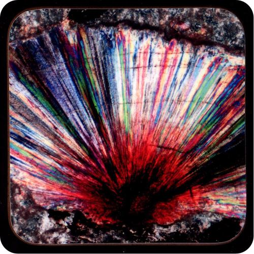 <!-- 00215 -->Withamite from Glen Coe, Scotland rock thin section Coaster (