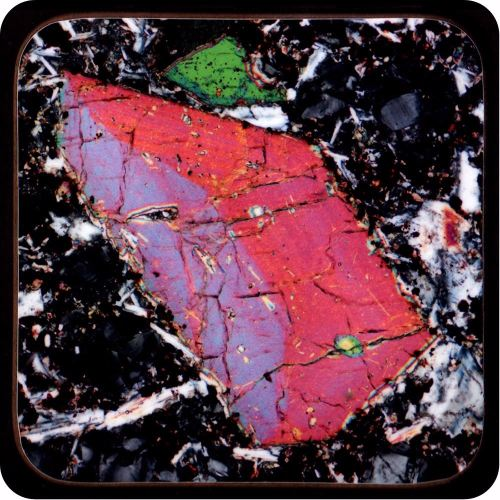 <!-- 00235 -->Pyroxene from Vesuvius, Italy rock thin section Coaster (C48)