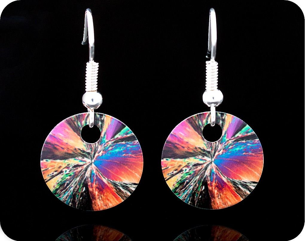 <!-- 00022 -->SCIENCE EARRINGS - CITRIC ACID CRYSTALS BY POLARISED LIGHT MI