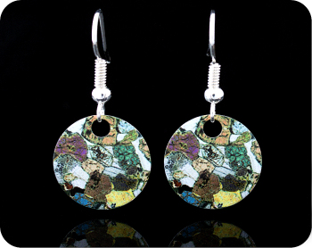 Geology earrings - Peridotite from Ardnamurchan, Scotland rock thin section Earrings (ER42)