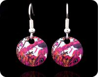 <!-- 00052 -->Geological Earrings - Piemontite from St Marcel, Italy rock thin section Earrings (ER44)