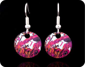 Piemontite from St Marcel, Italy rock thin section Earrings (ER44)