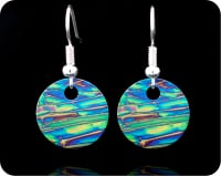 <!-- 00062 -->SCIENCE EARRINGS - CHEMICAL CRYSTALS (IMIDAZOLE) BY POLARISED LIGHT MICROSCOPY (ER10)