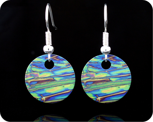 <!-- 00062 -->SCIENCE EARRINGS - CHEMICAL CRYSTALS (IMIDAZOLE) BY POLARISED