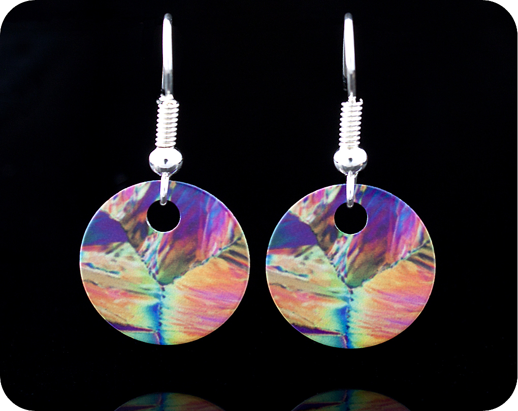 <!-- 00092 -->Chemistry earrings - citric acid crystals be polarised light