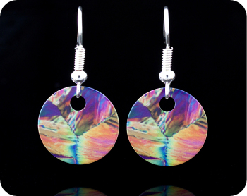 Chemistry earrings - citric acid crystals by polarised light microscopy (ER12)