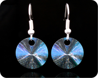 <!-- 00132 -->SCIENCE EARRINGS - CHEMICAL CRYSTALS (CITRIC ACID) BY POLARISED LIGHT MICROSCOPY (ER5)