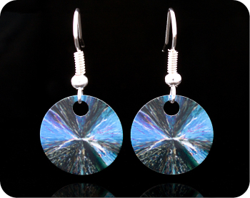 SCIENCE EARRINGS - CHEMICAL CRYSTALS (CITRIC ACID) BY POLARISED LIGHT MICROSCOPY (ER5)