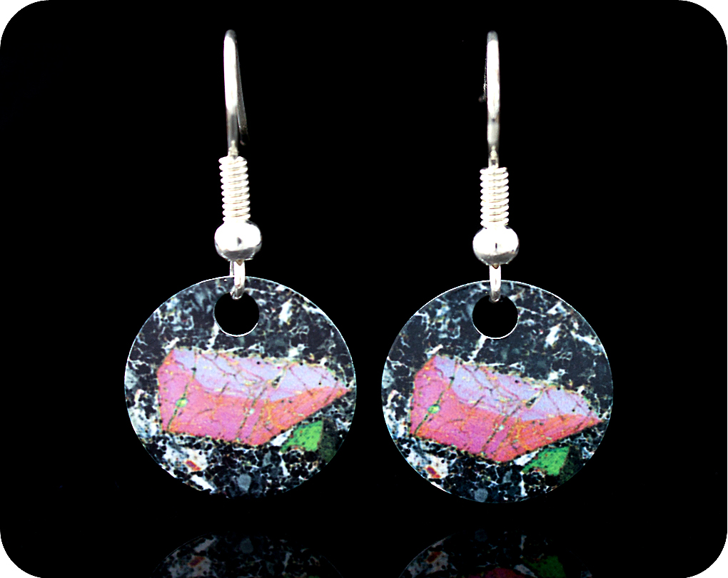 <!-- 00152 -->Pyroxene from Vesuvius, Italy rock thin section Earrings (ER4