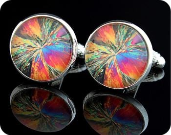CHEMISTRY CUFFLINKS - CHEMICAL CRYSTALS (CITRIC ACID, POLARISED LIGHT MICROSCOPY) (CL4)