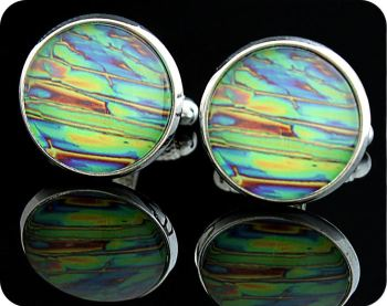 PHARMACIST / CHEMIST CUFFLINKS - IMIDAZOLE CHEMICAL CRYSTALS, POLARISED LIGHT MICROSCOPY (CL10)