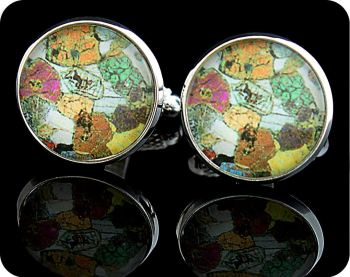 Peridotite from Ardnamurchan, Scotland rock thin section Cufflinks (CL42)