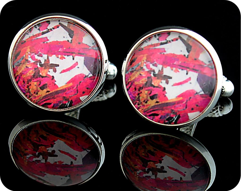 <!-- 00071 -->Piemontite from St Marcel, Italy rock thin section Cufflinks