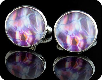 BOTANY CUFFLINKS - ROSE STEM SECTION (DARKFIELD MICROSCOPY) (CL2)