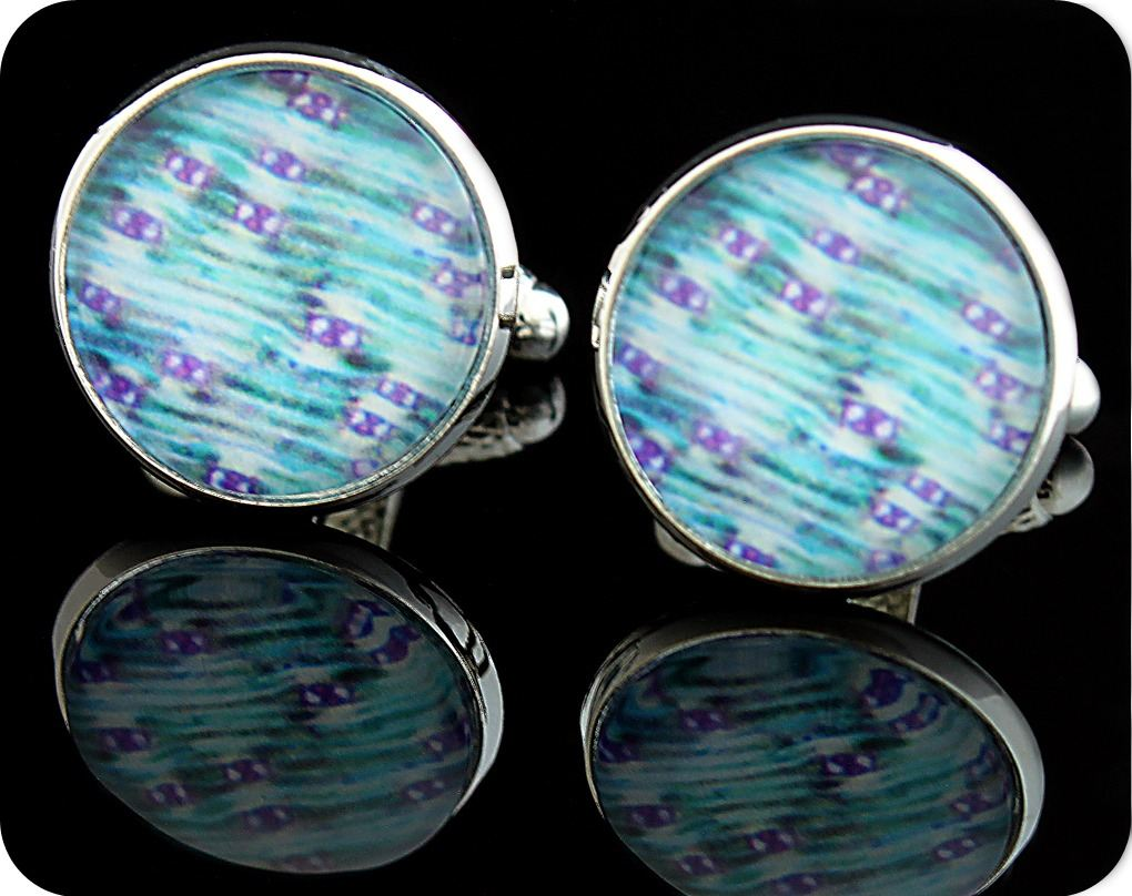 <!-- 00091 -->BIOLOGY CUFFLINKS - LILY LEAF LOWER EPIDERMIS, TOLUIDINE BLUE