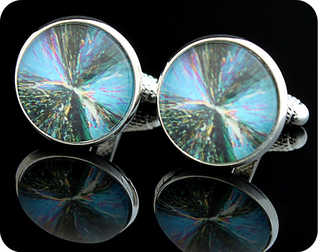 <!-- 00101 -->SCIENCE CUFFLINKS - CITRIC ACID CRYSTALS, POLARISED LIGHT MIC