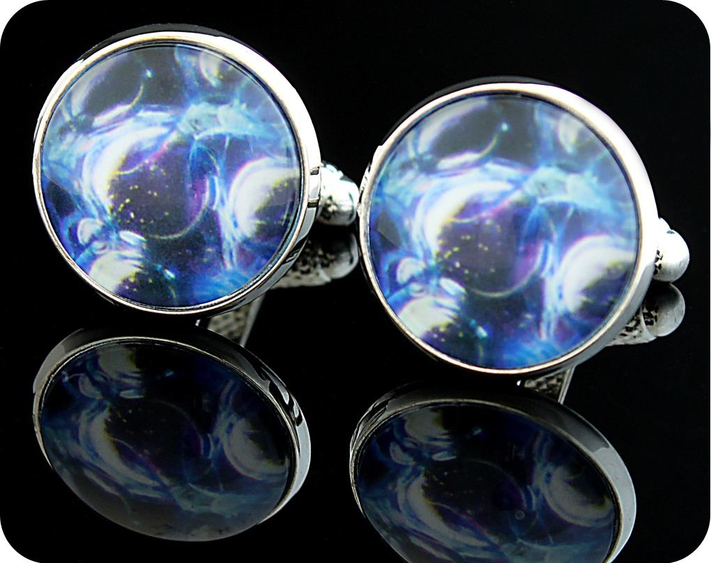 <!-- 00131-->BIOLOGY CUFFLINKS - ROSE STEM SECTION (DARKFIELD MICROSCOPY) (