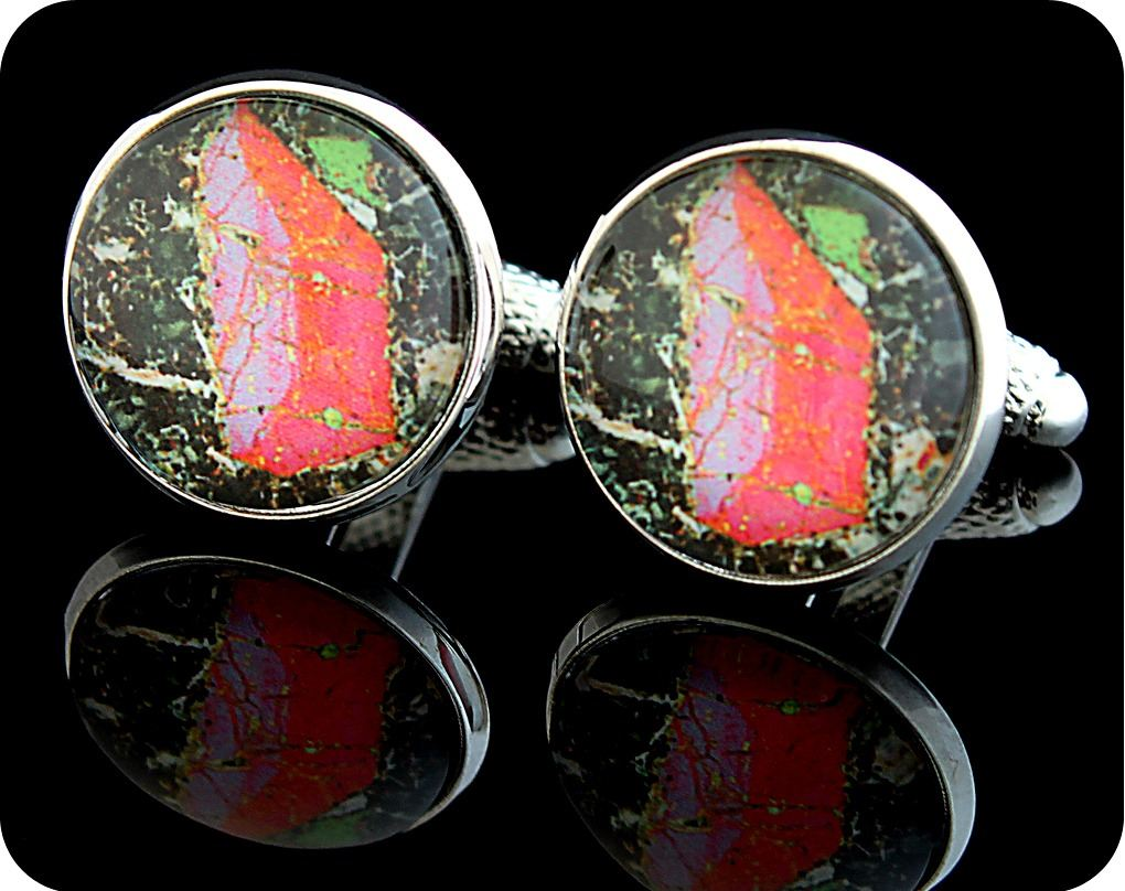 <!-- 00141 -->Pyroxene from Vesuvius, Italy rock thin section Cufflinks (CL