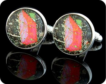 Pyroxene from Vesuvius, Italy rock thin section Cufflinks (CL48)