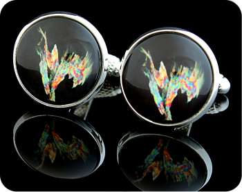 CHEMISTRY CUFFLINKS - TOWBIN SOLUTION, POLARISED LIGHT MICROSCOPY (CL14)