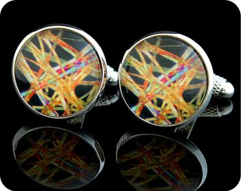 SCIENCE CUFFLINKS - WHATMAN LENS CLEANING TISSUE, POLARISED LIGHT MICROSCOPY (CL19)