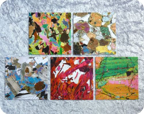 Five rock thin section images geology cards