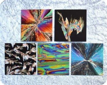 Five chemistry greetings cards - chemical crystals under the microscope
