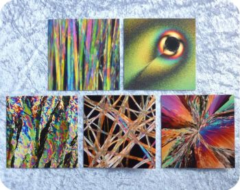 Five crystals under a polarised light microscope science greetings cards