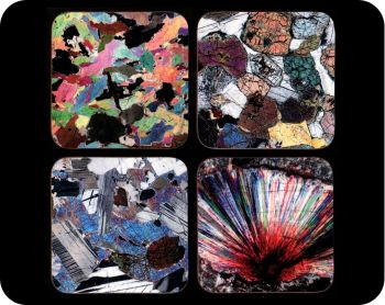 Four Scottish Geology Rock Thin Section Image Coasters - Interesting geology gift (Co-Scot4)