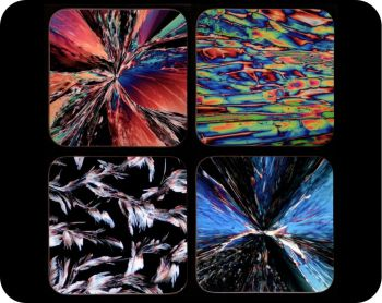 Four chemistry coasters - chemical crystals by polarised light microscopy (Co-Chem4)