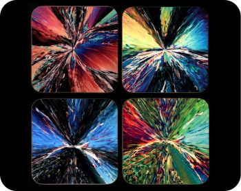 Four citric acid crystals chemistry coasters - citric acid crystals by polarised light microscopy (Co-Cit4)