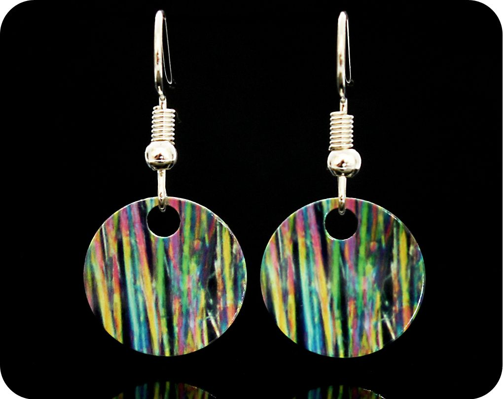 <!-- 00022 -->CAFFEINE EARRINGS - CAFFEINE CRYSTALS BY POLARISED LIGHT MICR