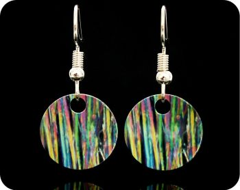 CAFFEINE EARRINGS - CAFFEINE CRYSTALS BY POLARISED LIGHT MICROSCOPY (ER34)