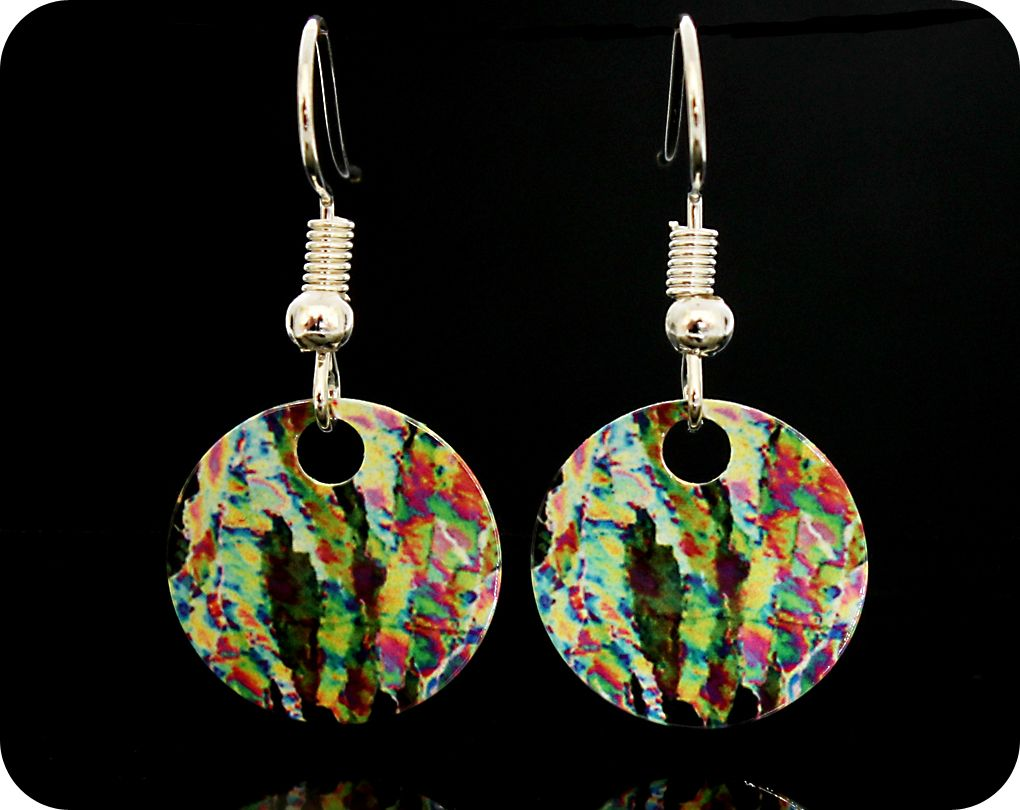 Vitamin C Earrings - Vitamin C crystals viewed by polarised light microscop