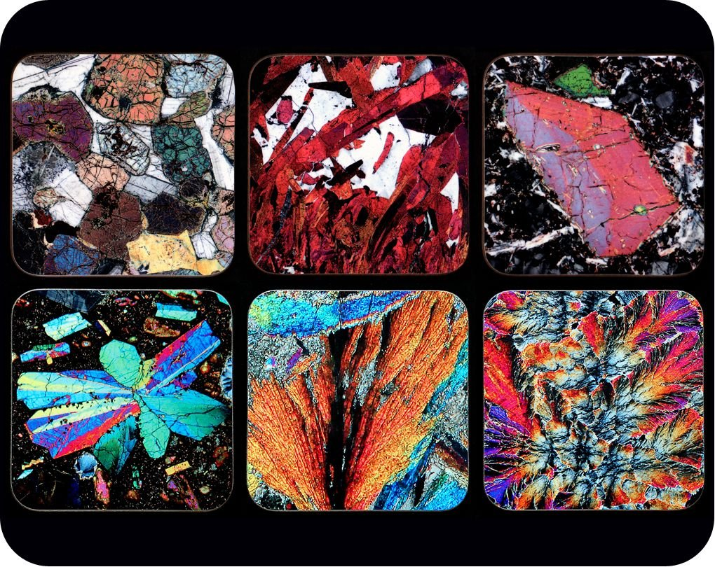 <!-- 00002 --> 6 Different European Geology Rock Thin Section Coasters - gr
