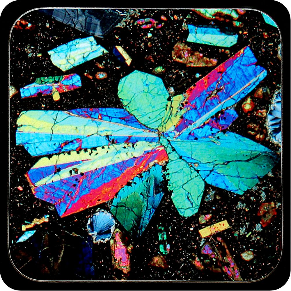 <!-- 00065 -->Limbergite from Limberg, Germany rock thin section Coaster (C