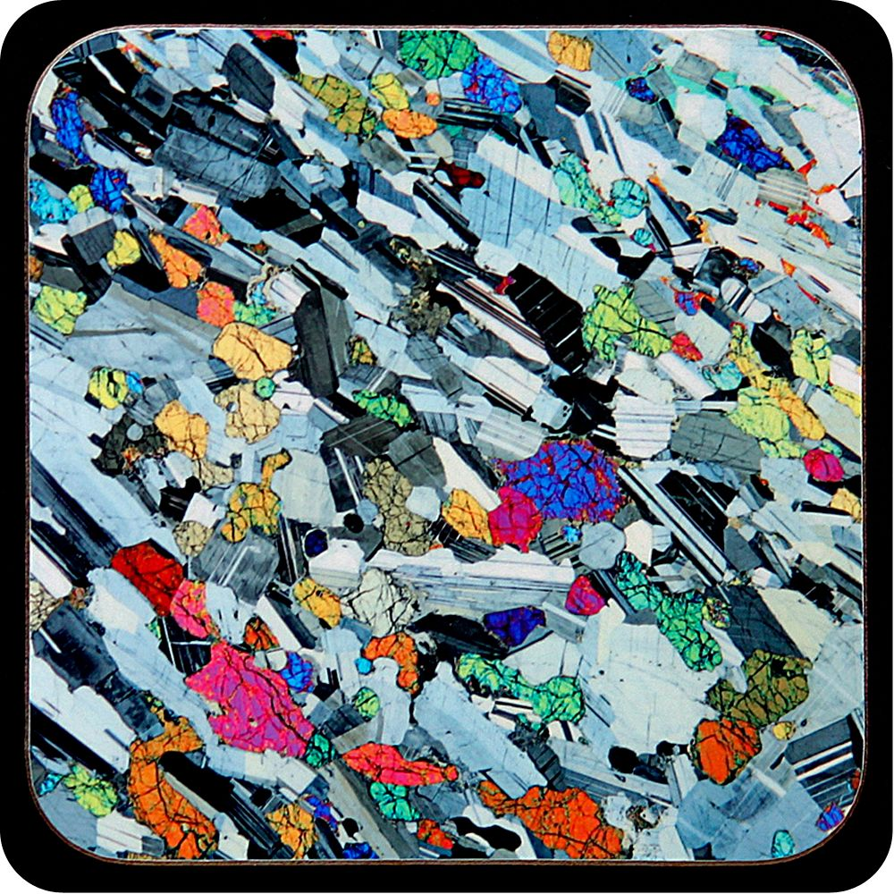 <!-- 0045 -->Eucrite from Ardnamurchan, Scotland rock thin section Coaster