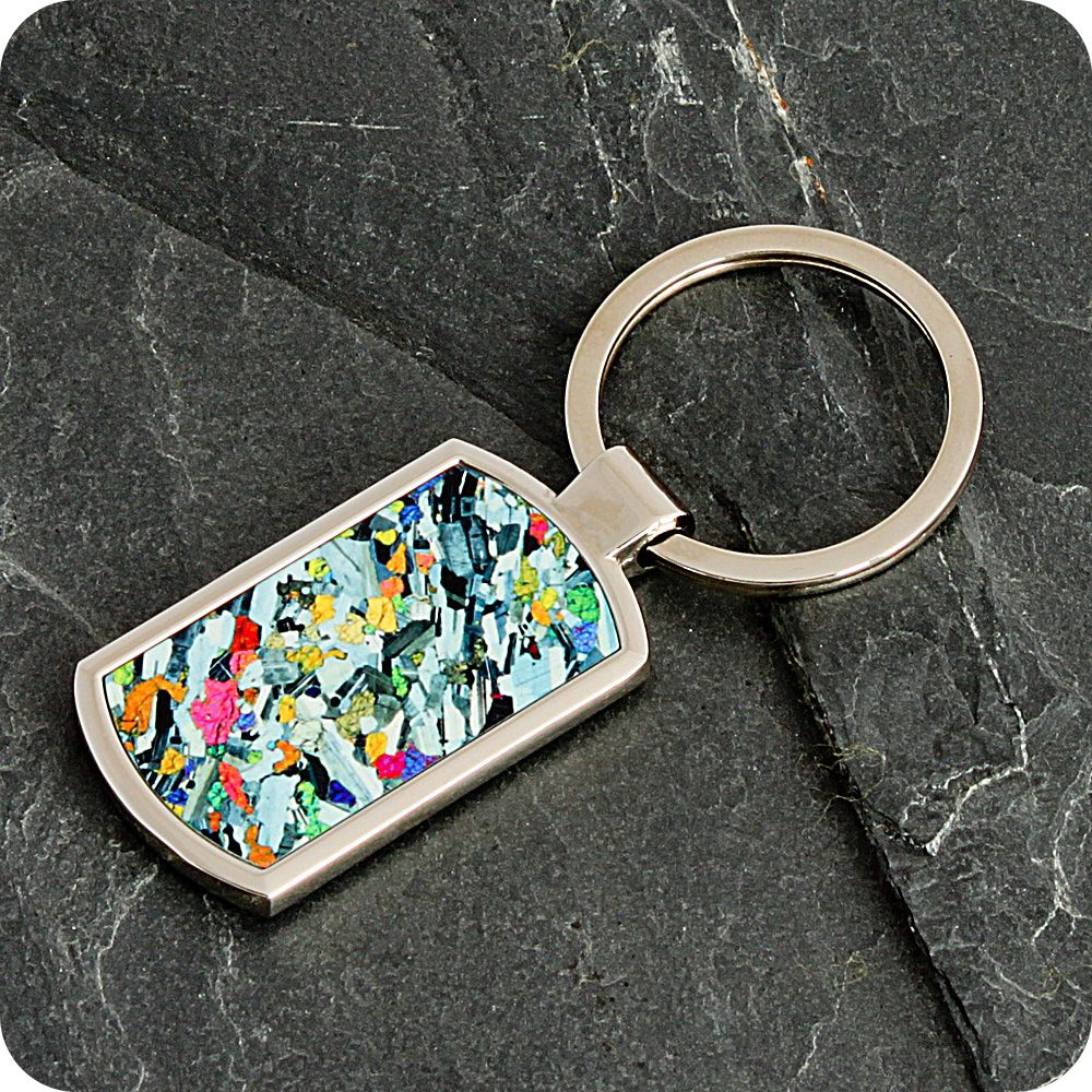 <!-- 00094 -->Eucrite from Ardnamurchan, Scotland rock thin section Keyring