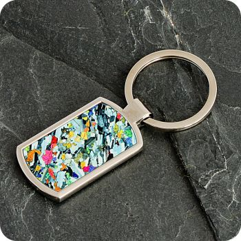 Eucrite from Ardnamurchan, Scotland rock thin section Keyring (K65)