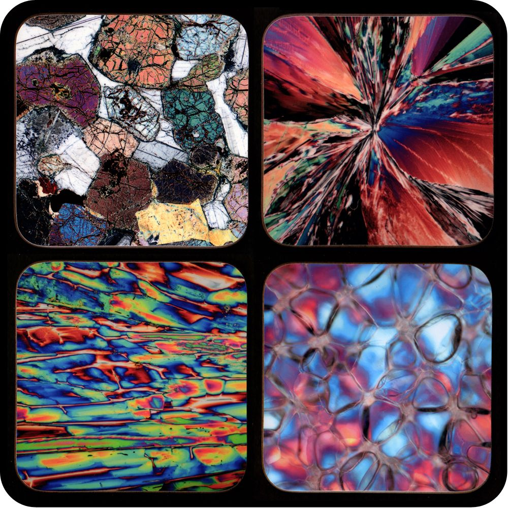 Science coasters - geology, chemistry and biology microscope photo coasters