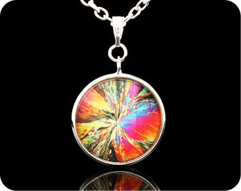 SCIENCE PENDANT - CITRIC ACID CRYSTALS BY POLARISED LIGHT MICROSCOPY (P4)