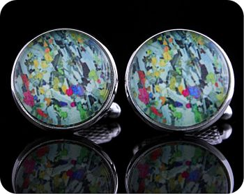 Eucrite from Ardnamurchan, Scotland rock thin section Cufflinks (CL65)