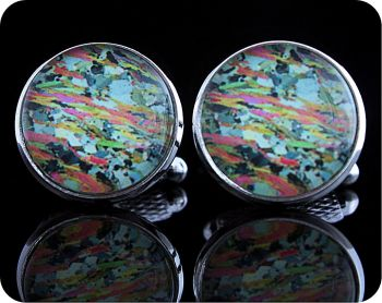 Mica Schist from Loch Eilt, Scotland rock thin section Cufflinks (CL60)