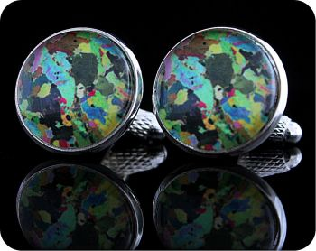 Hornblendite from Avernish, Scotland rock thin section Cufflinks (CL41)