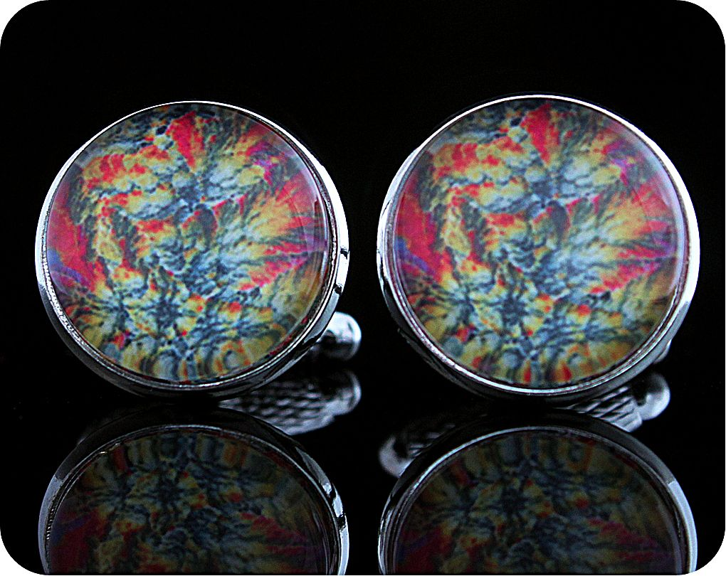 <!-- 00181 -->Barytes from Castleton, England rock thin section Cufflinks (