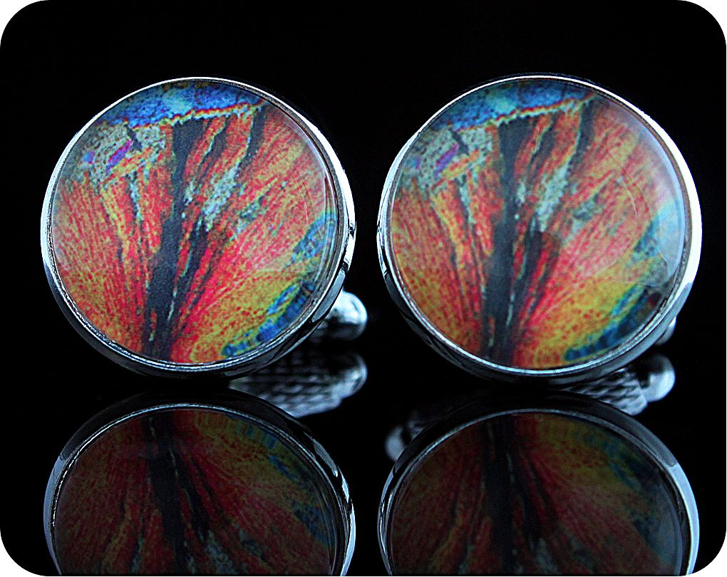 <!-- 00181 -->Geology cufflinks - Barytes from Strontian, Scotland rock thi