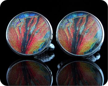 Geology cufflinks - Barytes from Strontian, Scotland rock thin section Cufflinks (CL63)