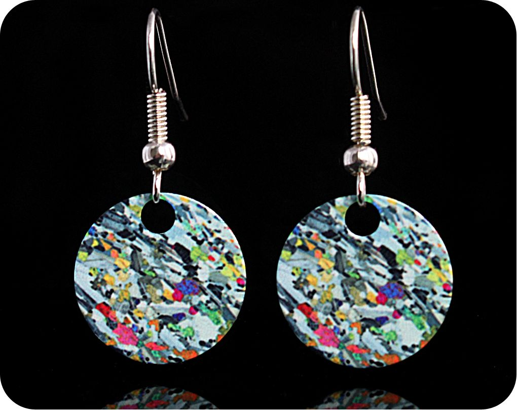 <!-- 00062 -->Geology earrings - Eucrite from Ardnamurchan, Scotland rock t