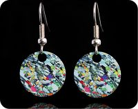 <!-- 00062 -->Geology earrings - Eucrite from Ardnamurchan, Scotland rock thin section Earrings (ER65)