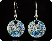 <!-- 00072 -->Geology earrings - Kentallenite from Kentallen, Great Glen, Scotland rock thin section Earrings (ER61)